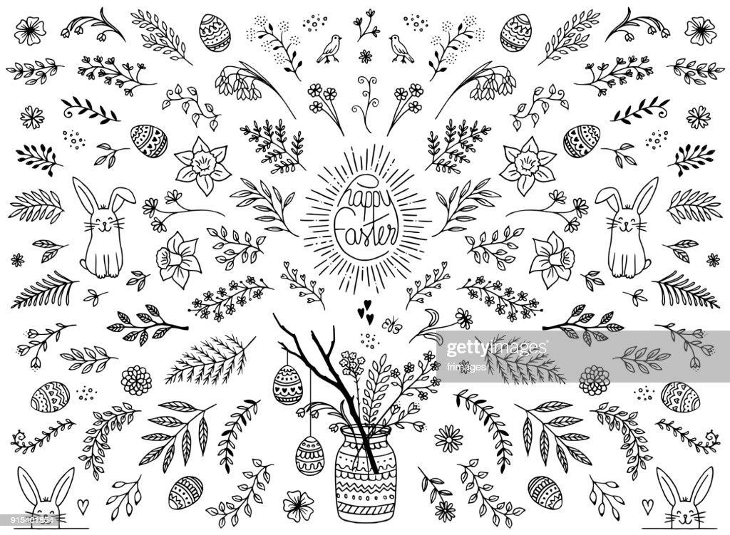 Floral design elements for Easter