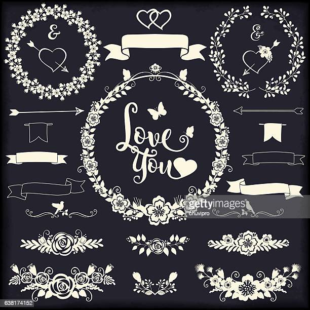 ilustraciones, imágenes clip art, dibujos animados e iconos de stock de floral design elements for weddings and gratitude cards romantic collection - cariñoso