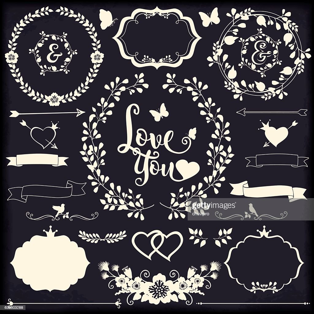 Floral design elements for Weddings and Gratitude cards Romantic collection : Vector Art