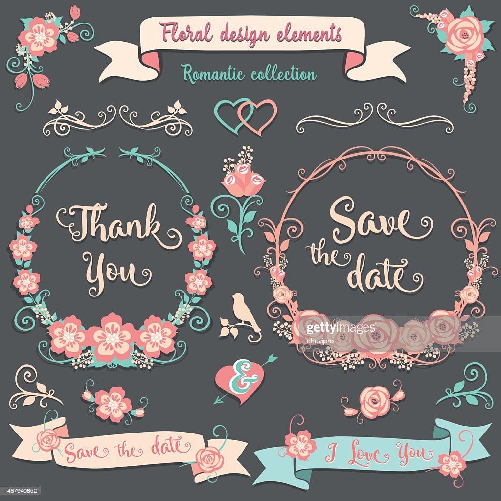 Floral design elements Romantic collection