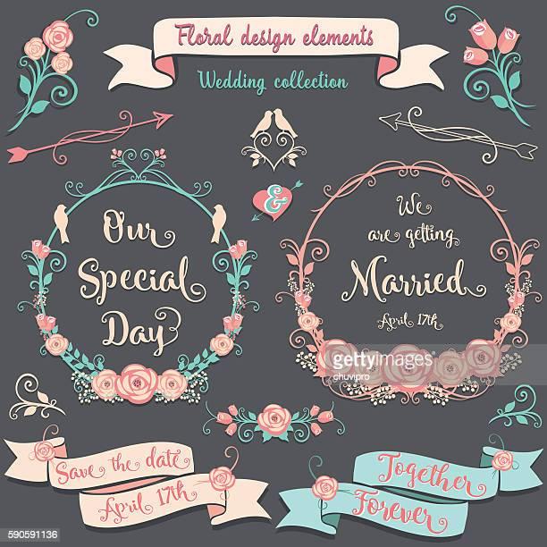 floral design elements romantic vintage collection - ceremony stock illustrations