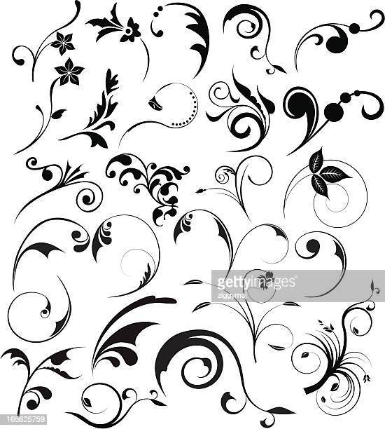 floral design elements - gothic style stock illustrations, clip art, cartoons, & icons
