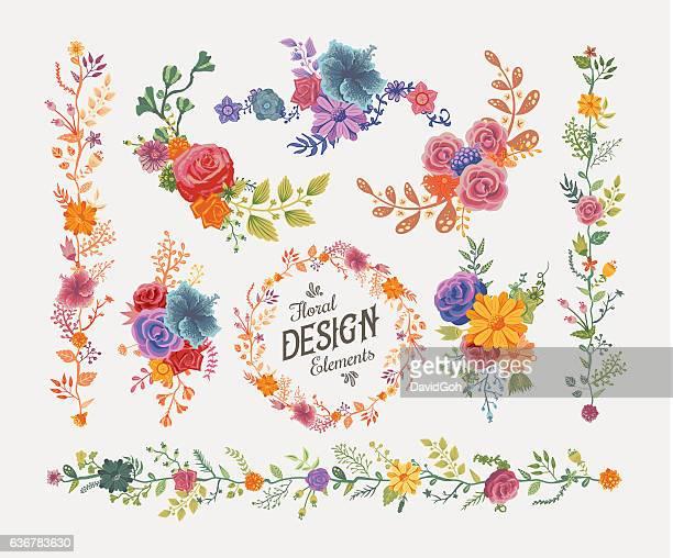 ilustraciones, imágenes clip art, dibujos animados e iconos de stock de elementos de diseño floral - david ramos