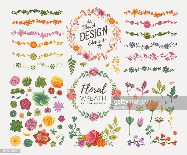 ilustrações, clipart, desenhos animados e ícones de elementos de design floral - composição