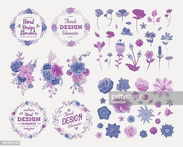 floral design elements - maroon stock illustrations