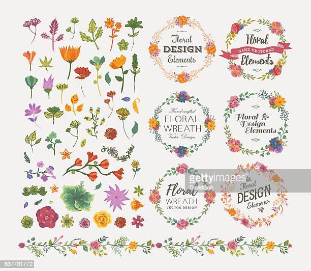 ilustraciones, imágenes clip art, dibujos animados e iconos de stock de elementos de diseño floral - flores
