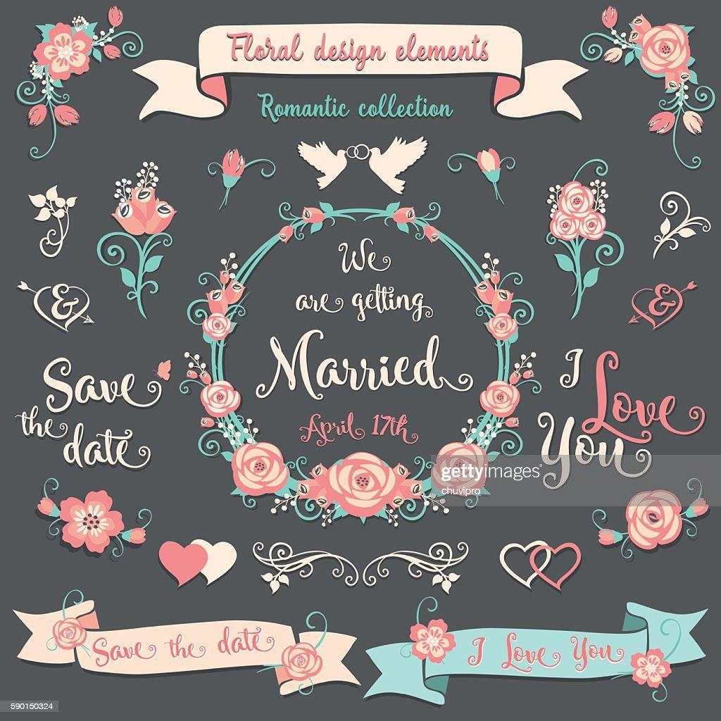 Floral design elements Wedding collection