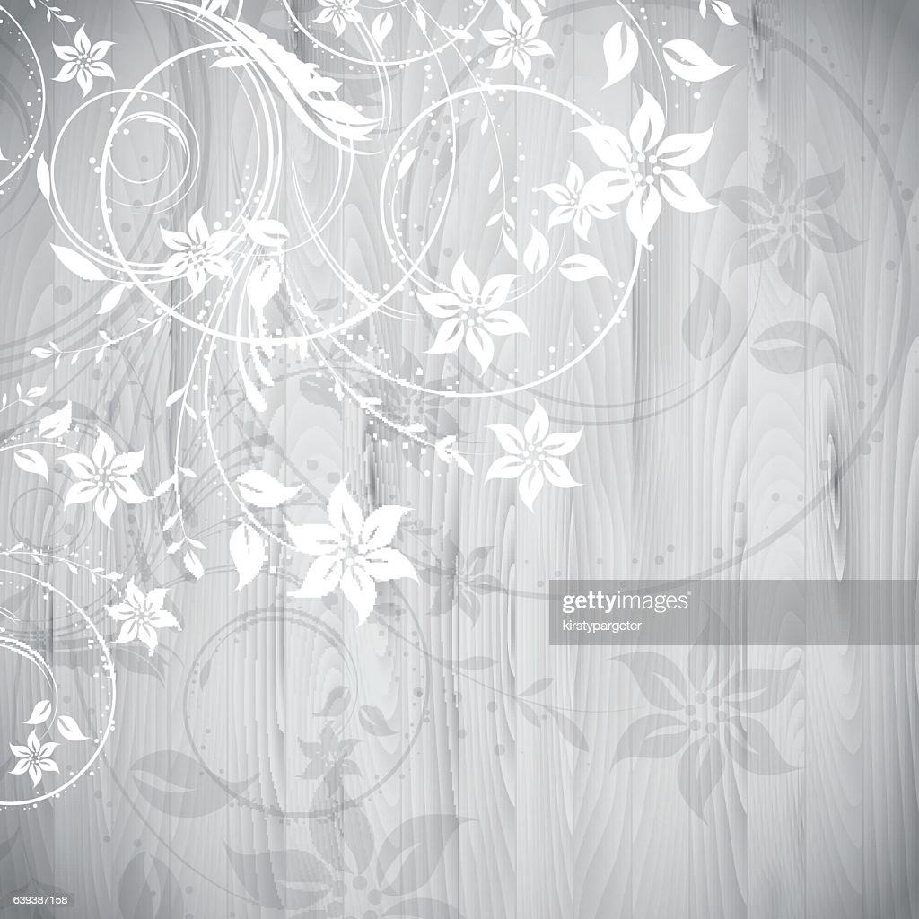 Floral design on wood background