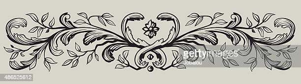 floral divider - paper scroll stock illustrations, clip art, cartoons, & icons