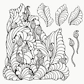 Floral doodle. Black and white pattern in vector