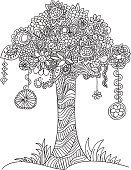 Floral doodle tree.