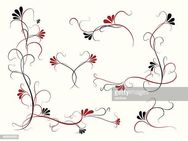 floral elements - embellishment stock illustrations