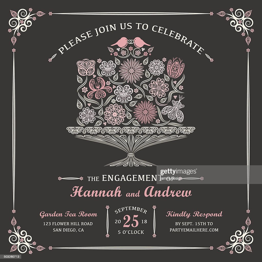 Floral Engagement Cake Invitation