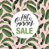 Floral flyer, discount voucher, gift certificate vector template. Trendy summer illustration. Tropical banana palm leaves and glittering gold texture.