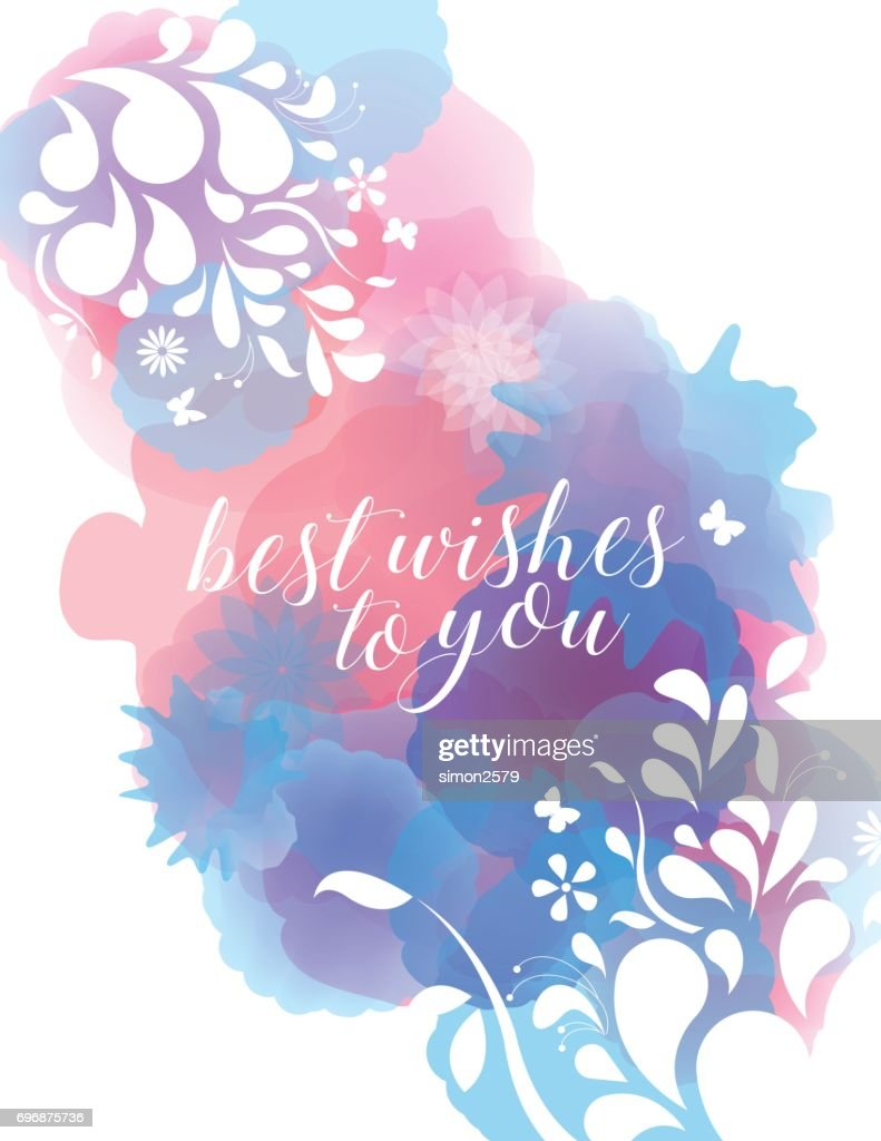 Floral Frame Banner With Watercolor Background Texture High Res