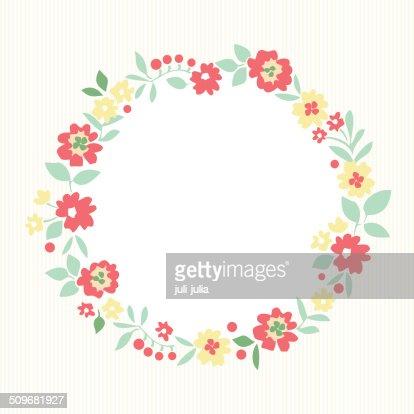 Floral Frame Cute Retro Flowers Vector Art