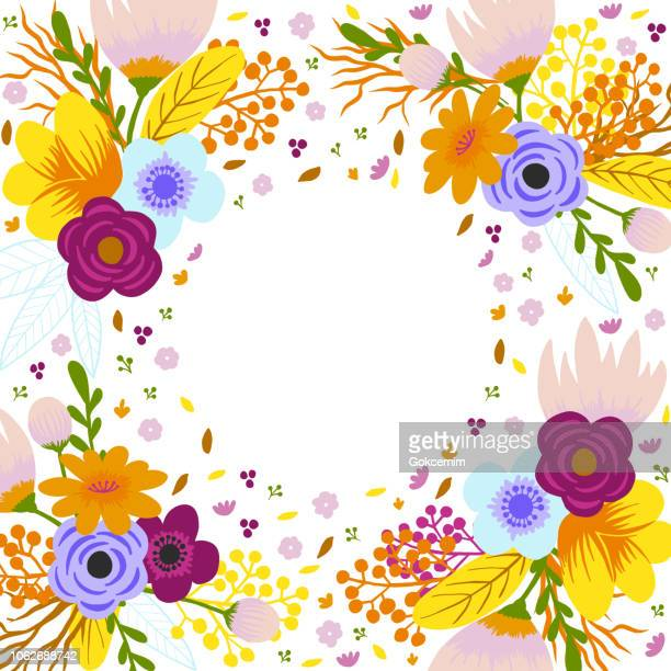 Floral Frame. Delicate Bouquets with Orange, Pink, Blue Flowers Arranged to Form a Cheerful Frame for Greeting Cards and Designs