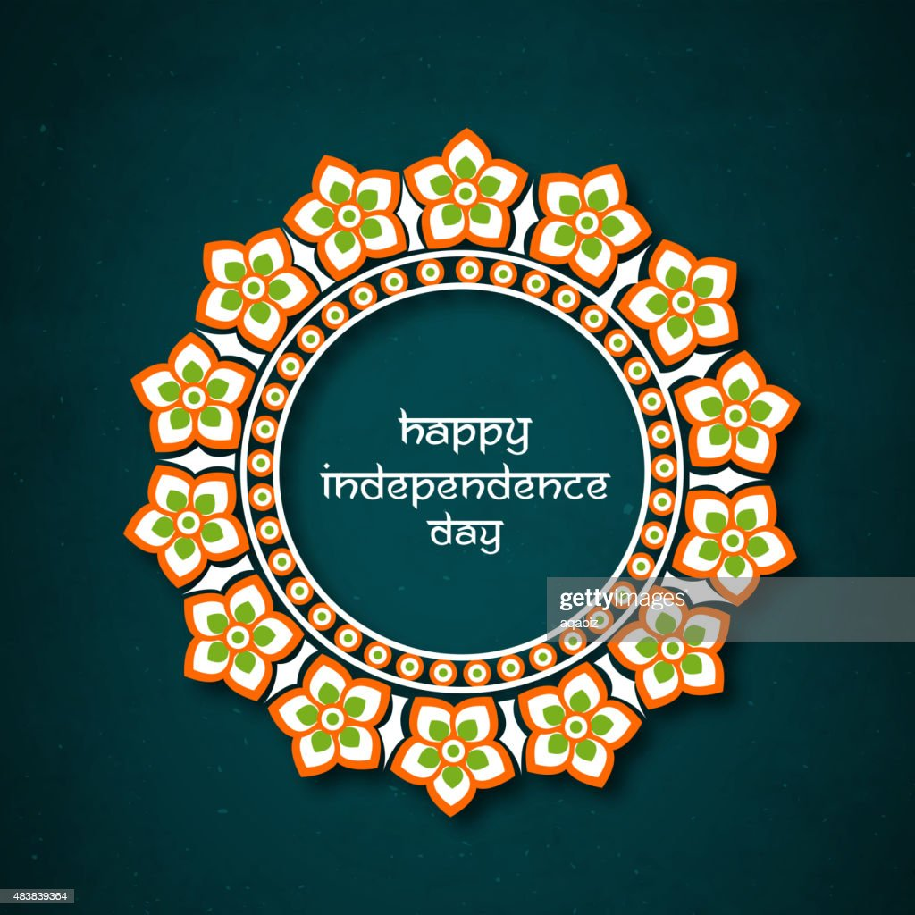 Floral frame for Indian Independence Day.