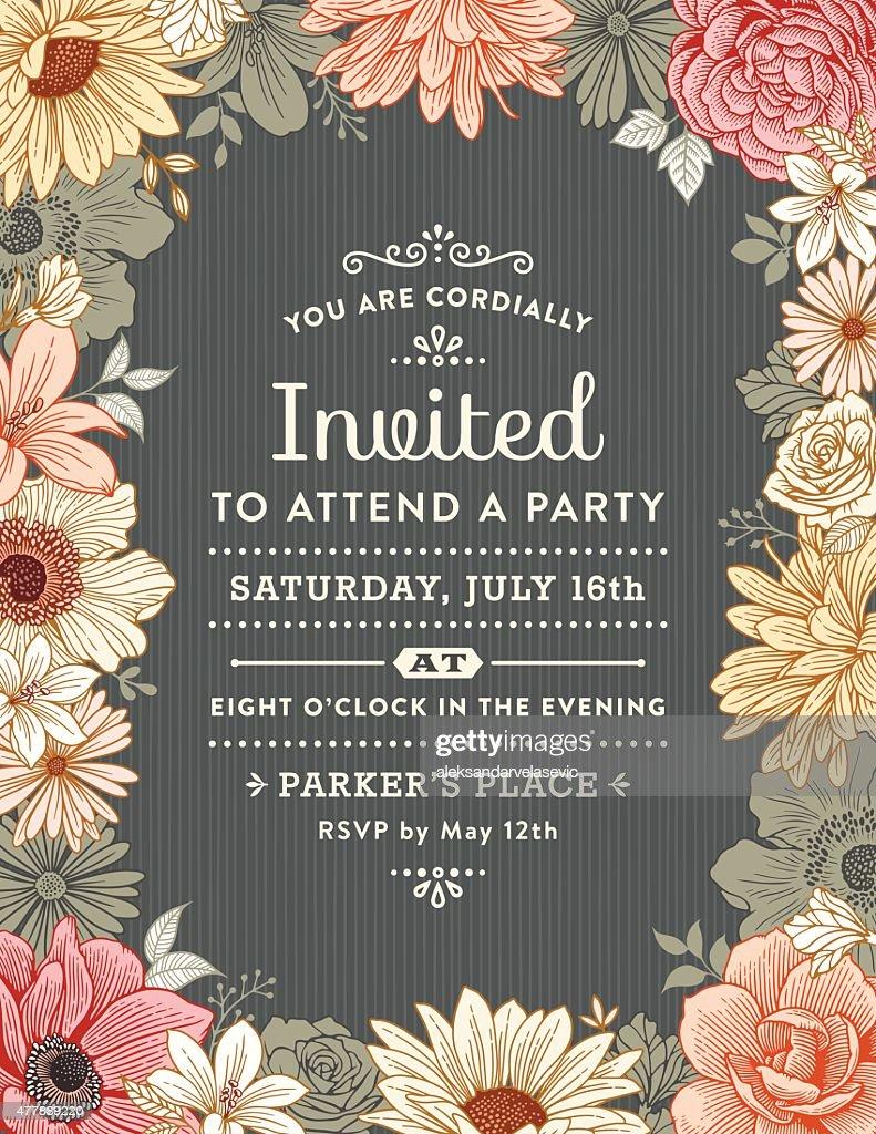 Floral Frame Invitation : stock illustration
