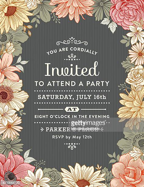 floral frame invitation - floral pattern stock illustrations