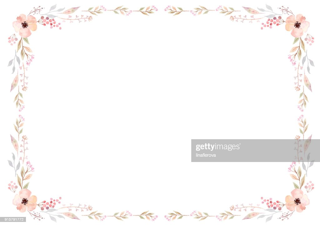 Floral frame template with pink flowers and swirly leaves on white background.