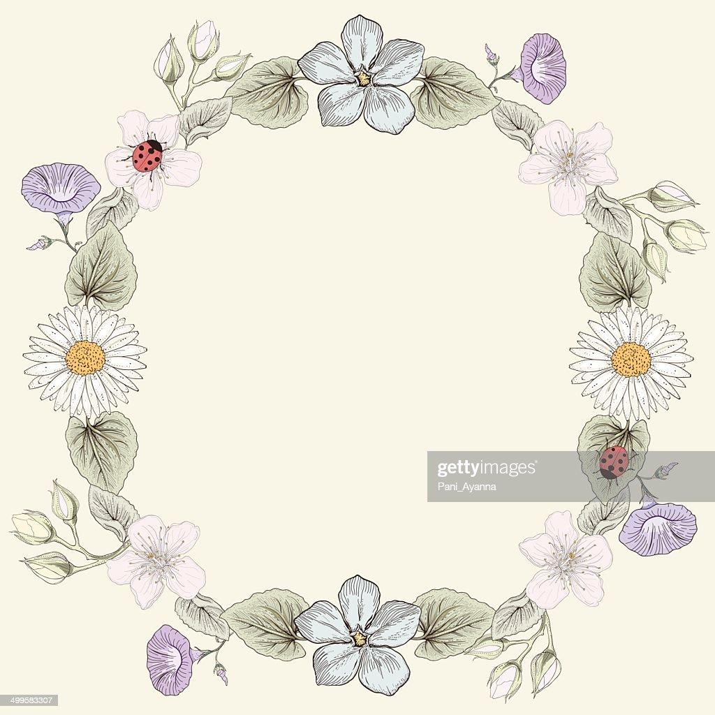 floral frame vintage engraving style