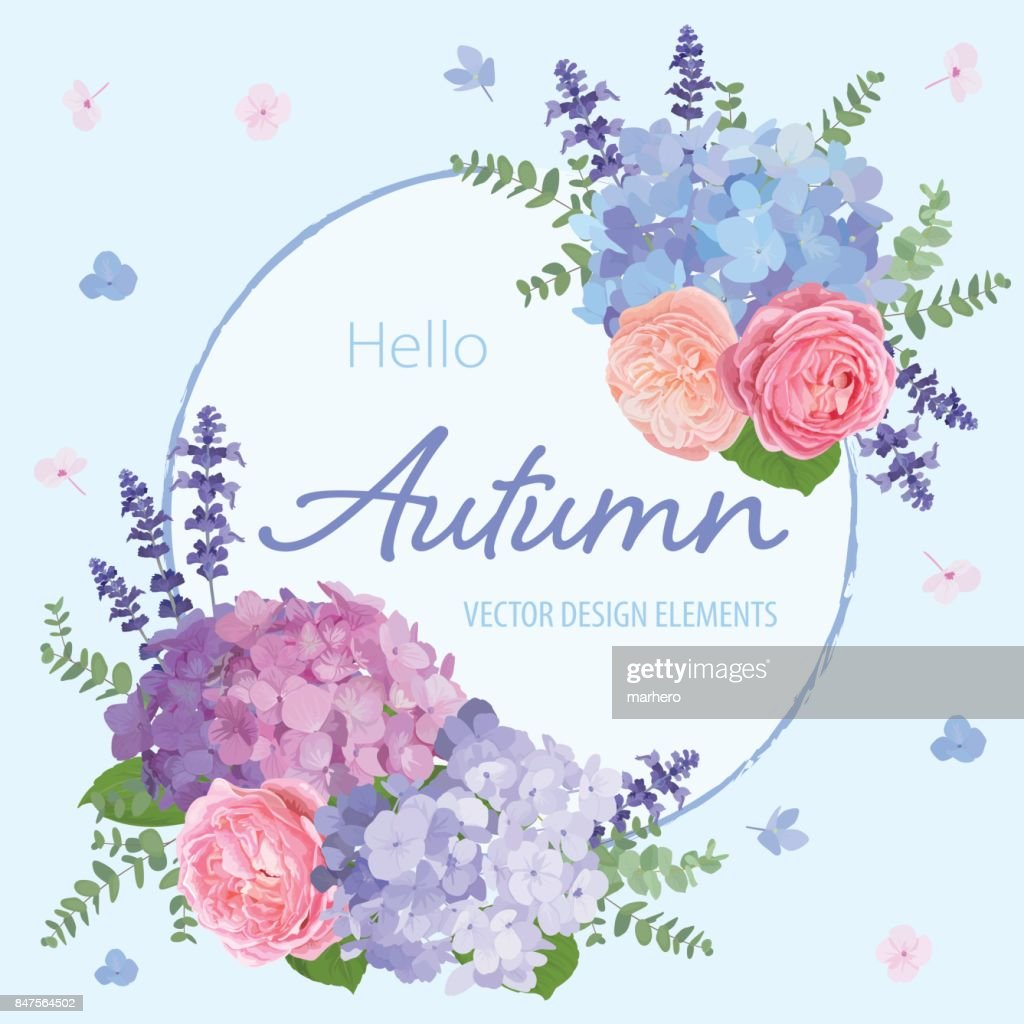 Floral frame with autumn hydrangea flowers, rose, lavender, and leaf on blue in the background.