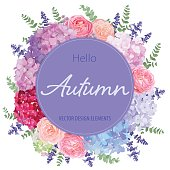 Floral frame with autumn hydrangea flowers, rose, lavender, and leaf on white background.