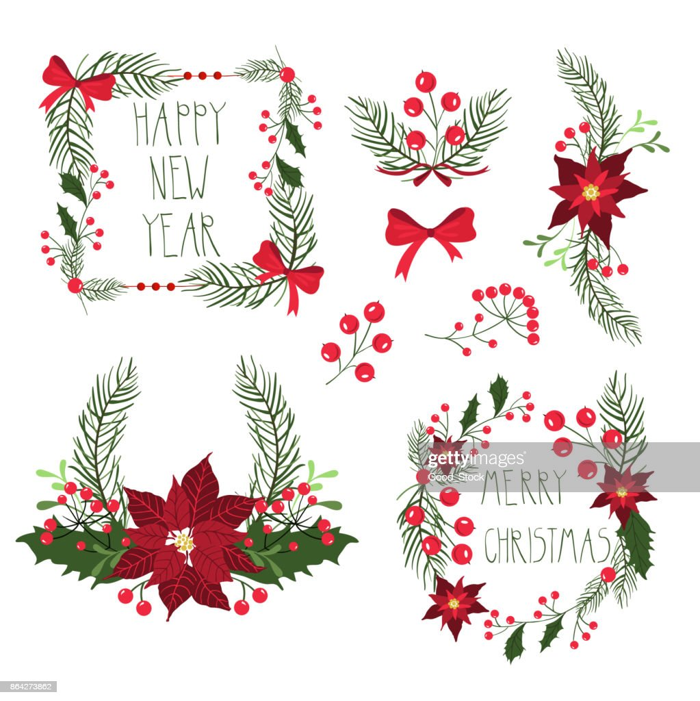 Floral Frames For Christmas Holiday Cards With Flowers And Berries ...