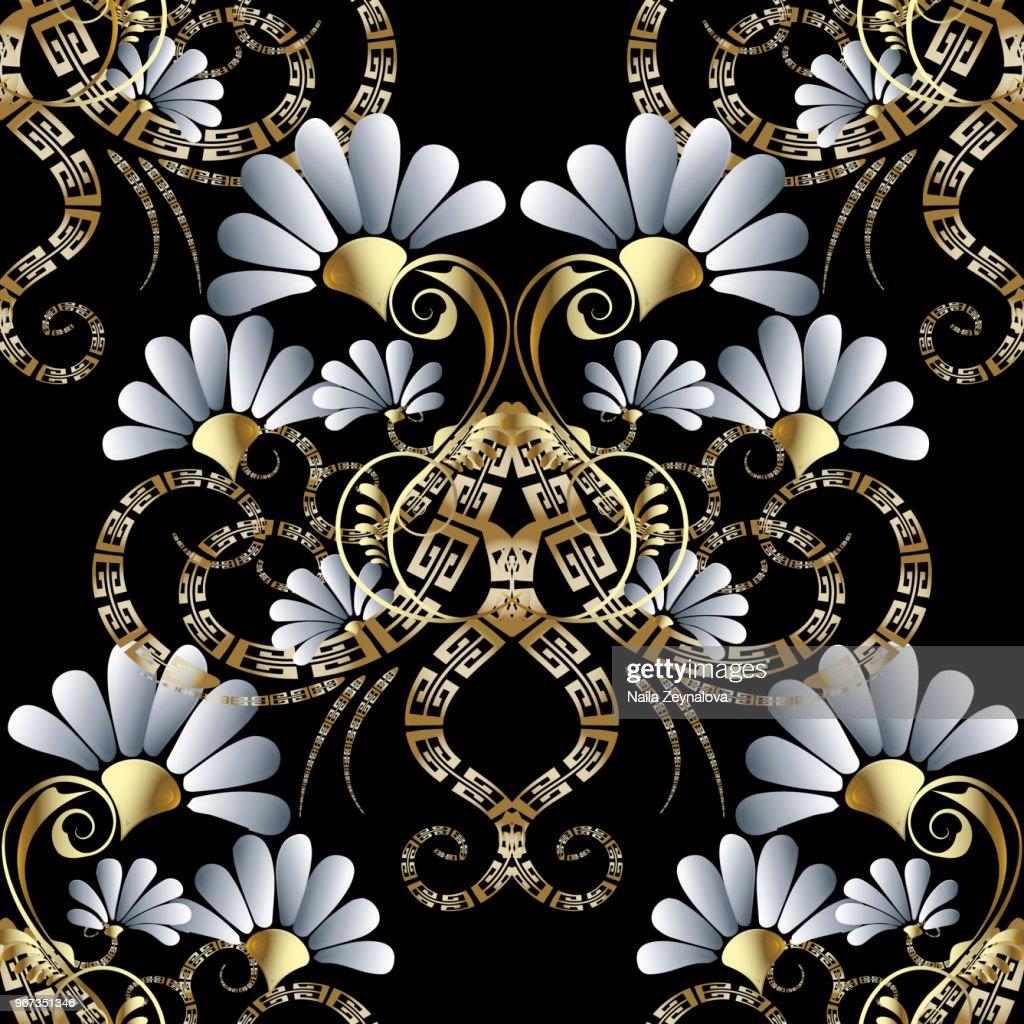 Floral freek 3d seamless pattern.