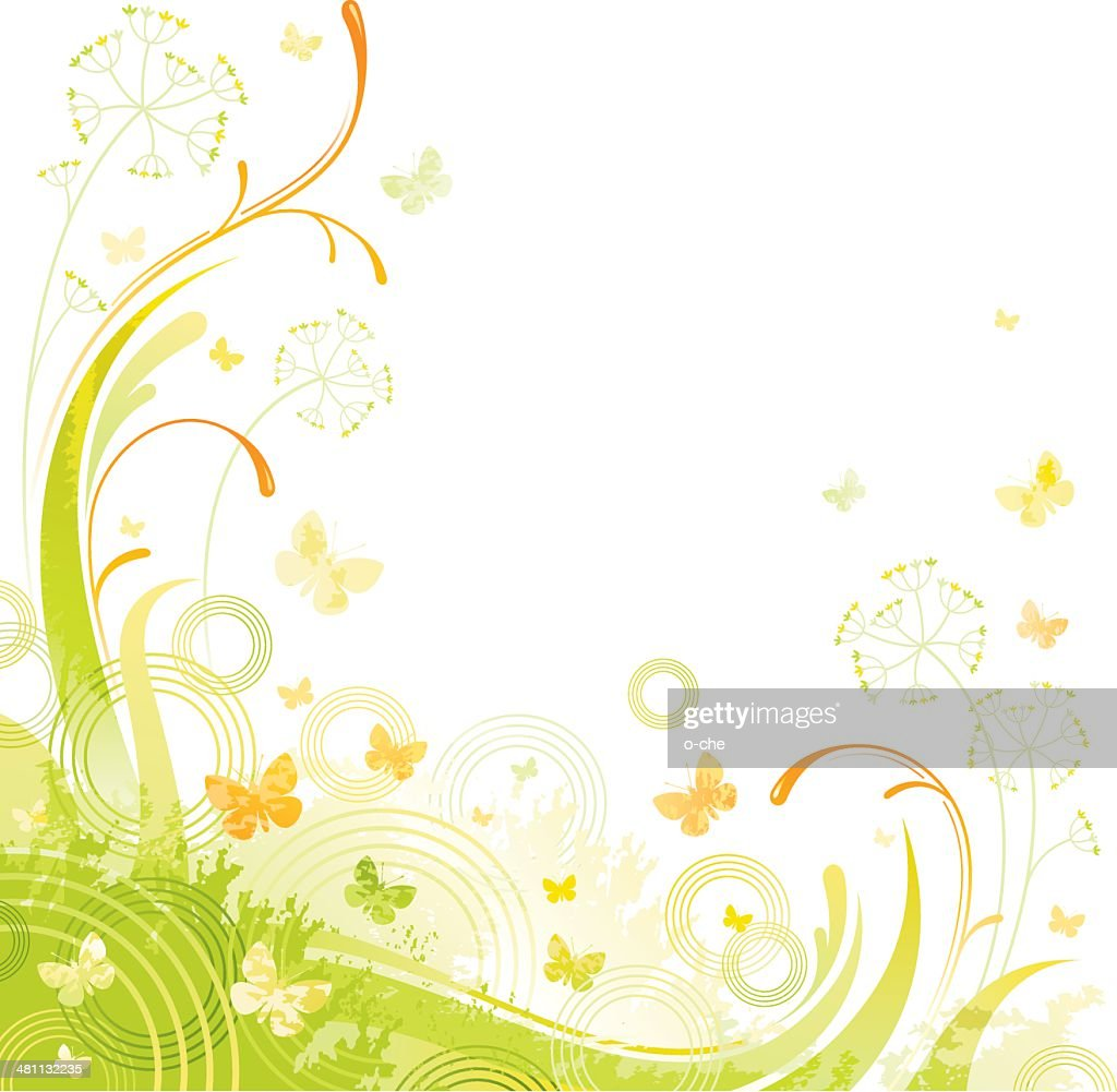 Floral green background with copyspace