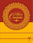Floral greeting card for Happy Onam celebration.