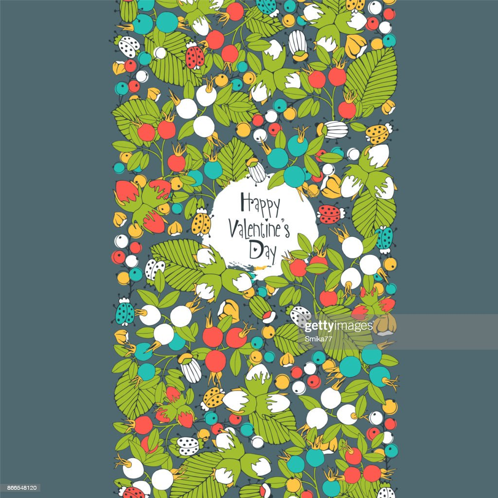 Floral greeting card with berries and insects