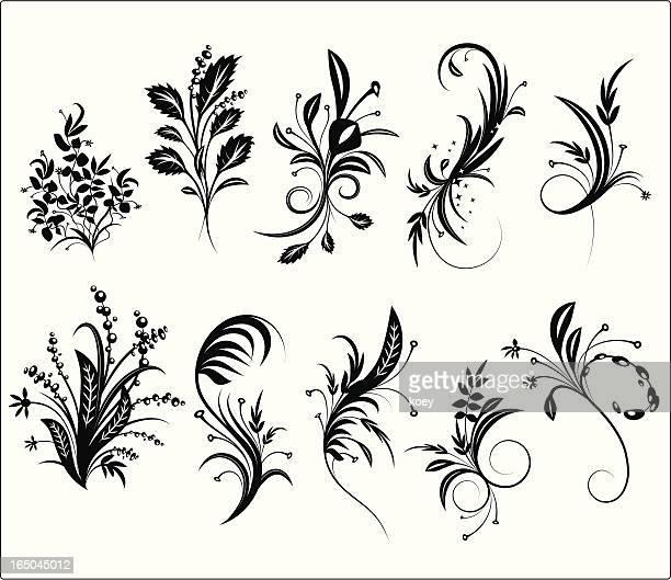 ilustraciones, imágenes clip art, dibujos animados e iconos de stock de adorno floral grunge elements - los cuatro elementos