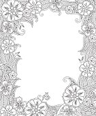 Floral hand drawn vertical frame in inspired style.