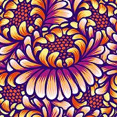 Floral hand drawn vintage seamless pattern with flowers. Fabulous orange-purple flowers. Tropical seamless pattern with exotic vivid flowers. Exotic textile botanical design. Summer design