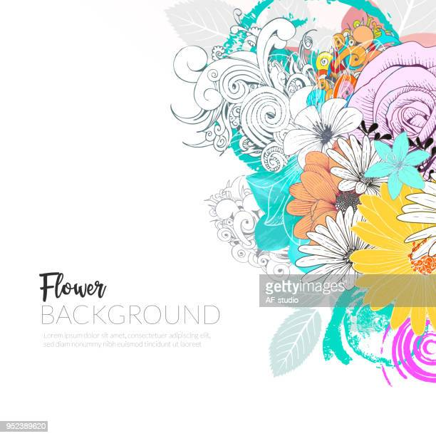 floral handrawn background - gerbera daisy stock illustrations, clip art, cartoons, & icons