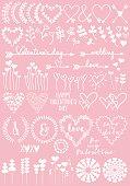Floral heart designs, vector set