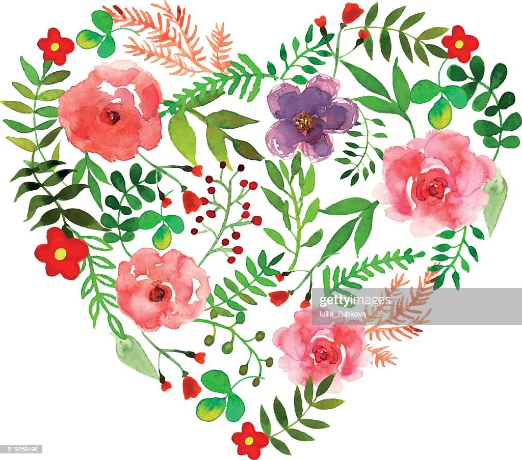 Floral heart with isolated flowers, herbs and leaves drawn watercolor
