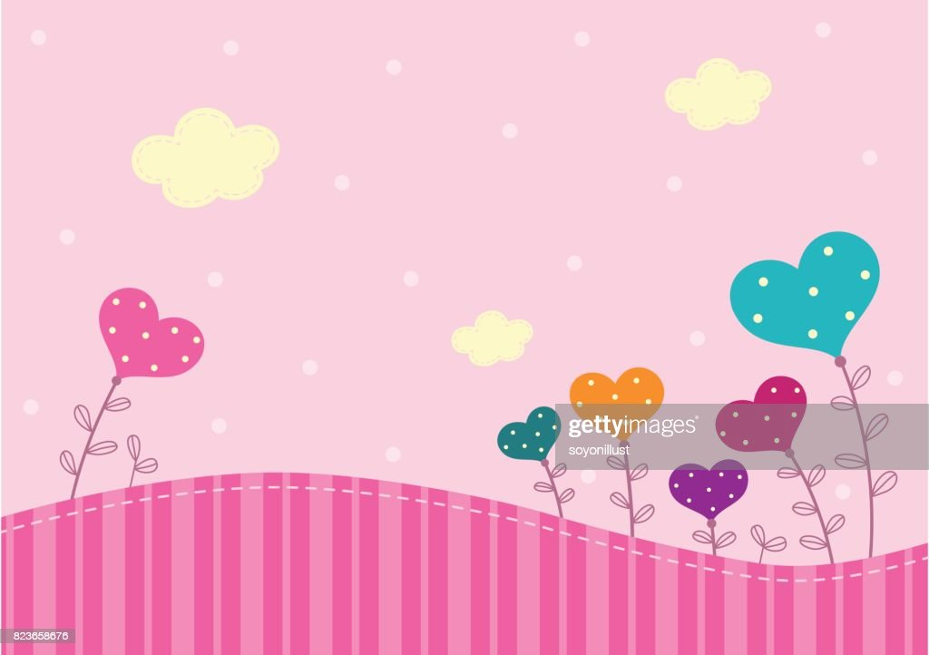 Floral hearts pink background