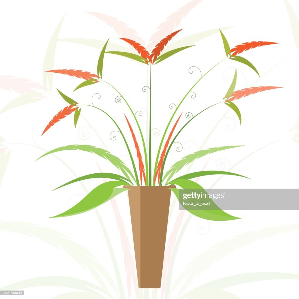 floral in vase vector illustration on white