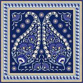 Floral indian paisley pattern vector seamless border. Vintage flower ethnic ornament for silk scarf bandana print fabric. Oriental folk design for classic bedroom textile, boho pillow, yoga wallpaper.