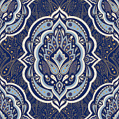 Floral indian paisley pattern vector seamless. Vintage flower ethnic ornament for persian rugi fabric. Oriental folk design for silk bedroom textile, gypsy clothing, yoga wallpaper, india luxury wedding.