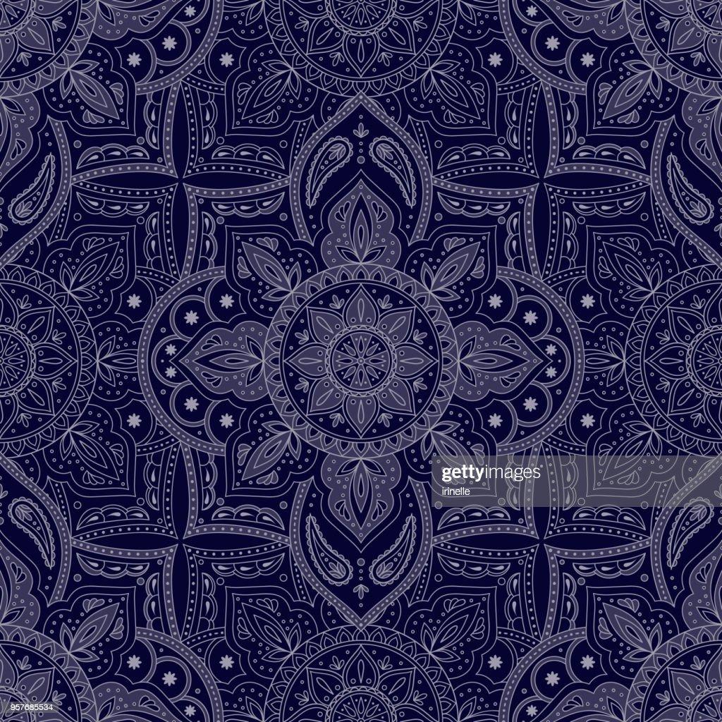 Floral indian paisley pattern vector seamless. Vintage flower ethnic ornament for silk batik fabric. Oriental folk design for india luxury wedding, boho bedroom textile, yoga wallpaper, clothing.