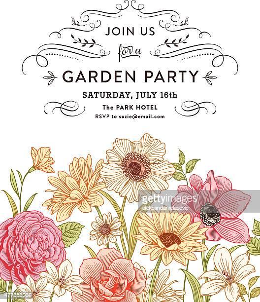 floral invitation - plant stem stock illustrations