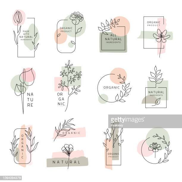 floral labels for natural and organic products - flower head stock illustrations