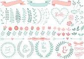 floral laurel wreath, vector set