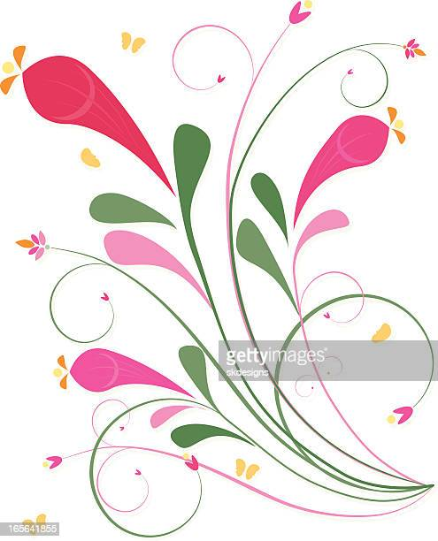 floral leaf scrolls and swirls design element - spring colors - hot pink stock illustrations