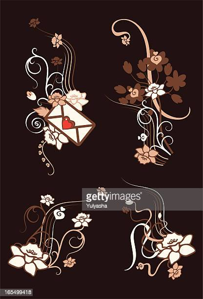 floral letter - paperwhite narcissus stock illustrations, clip art, cartoons, & icons