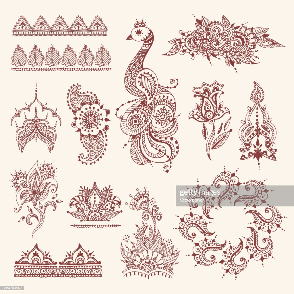 Floral mehendi flowers vintage pattern ornament vector illustration hand drawn henna india background